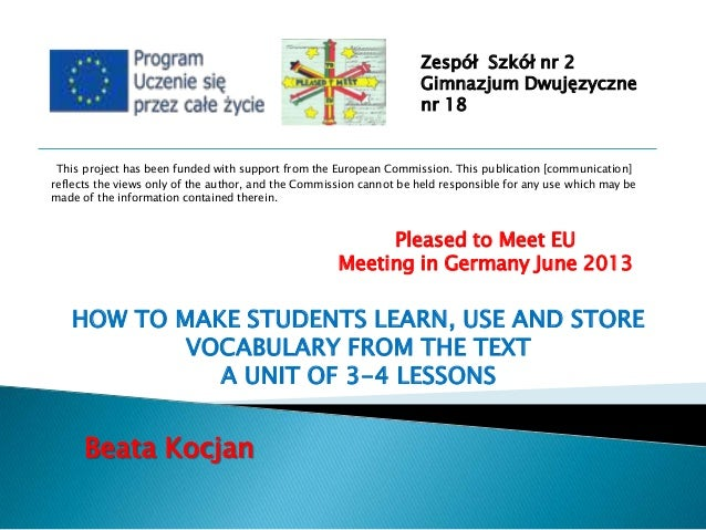 Zespół Szkół nr 2 Gimnazjum Dwujęzyczne nr 18  This project has been funded with support from the European Commission. Thi...