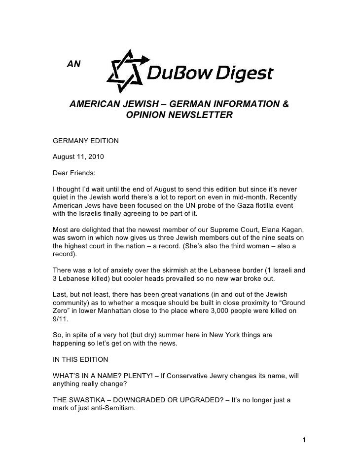 AN         AMERICAN JEWISH – GERMAN INFORMATION &                OPINION NEWSLETTER  GERMANY EDITION  August 11, 2010  Dea...