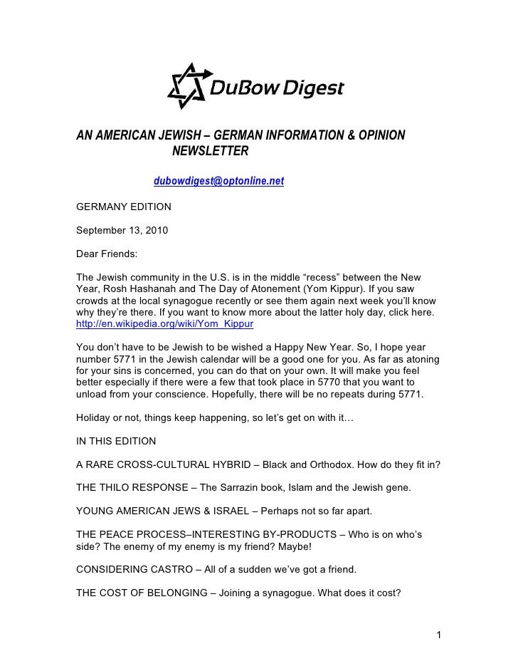 AN AMERICAN JEWISH – GERMAN INFORMATION & OPINION               NEWSLETTER                   dubowdigest@optonline.net  GE...