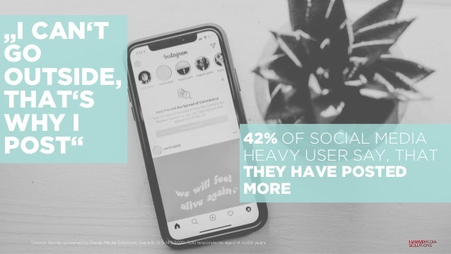 """""""I CAN'T GO OUTSIDE, THAT'S WHY I POST"""" 42% OF SOCIAL MEDIA HEAVY USER SAY, THAT THEY HAVE POSTED MORE Source: Survey powe..."""