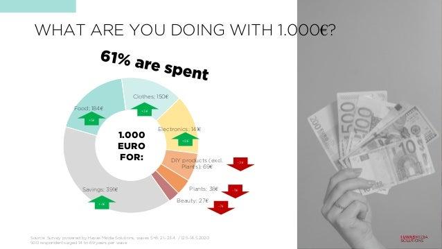 Savings; 391€ Food; 184€ Clothes; 150€ Electronics; 141€ DIY products (excl. Plants); 69€ Plants; 38€ Beauty; 27€ 1.000 EU...