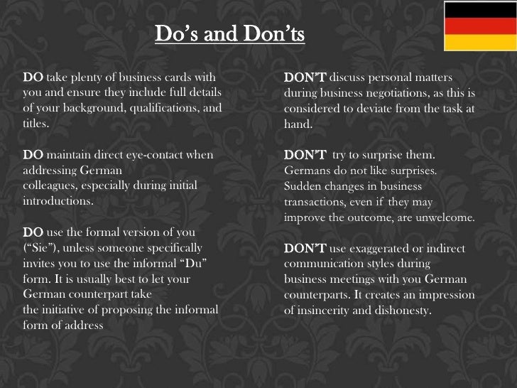 business customs germany Will you soon be working in germany use our expatriate guide to german  business etiquette to read up on correct greetings, key business values, and  more.