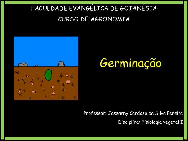 FACULDADE EVANGÉLICA DE GOIANÉSIA CURSO DE AGRONOMIA  Germinação  Professor: Joseanny Cardoso da Silva Pereira  Disciplina...
