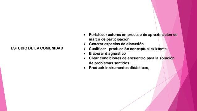 ESTUDIO DE LA COMUNIDAD  Fortalecer actores en proceso de aproximación de marco de participación  Generar espacios de di...