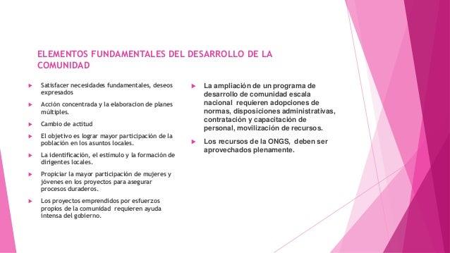 ELEMENTOS FUNDAMENTALES DEL DESARROLLO DE LA COMUNIDAD  Satisfacer necesidades fundamentales, deseos expresados  Acción ...