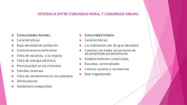 DIFERENCIA ENTRE COMUNIDAD RURAL Y COMUNIDAD URBANA  Comunidades Rurales  Características:  Baja densidad de población ...