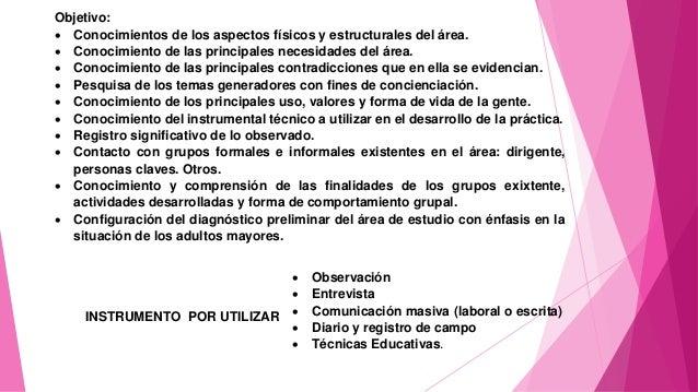 Objetivo:  Conocimientos de los aspectos físicos y estructurales del área.  Conocimiento de las principales necesidades ...