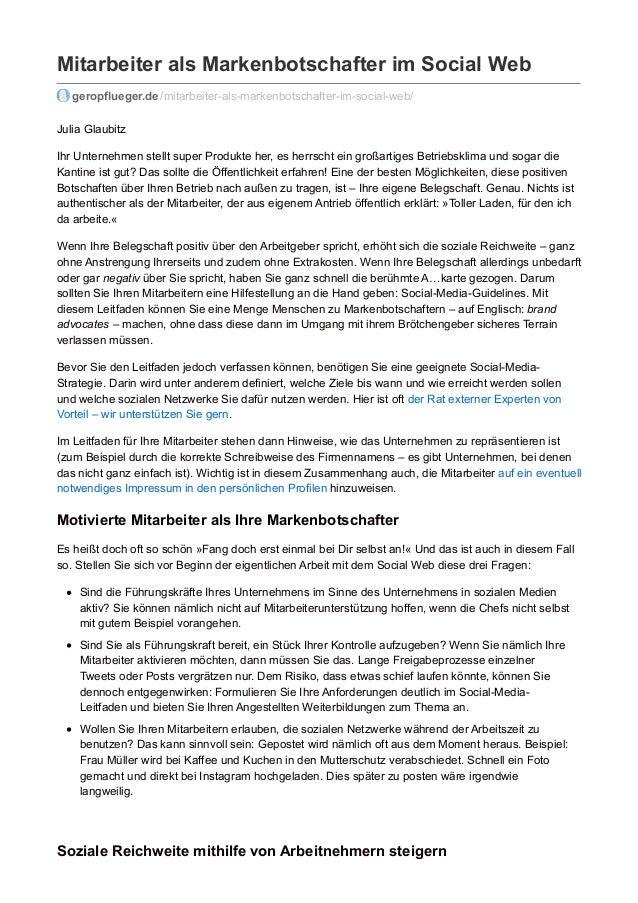 Mitarbeiter als Markenbotschafter im Social Web geropflueger.de /mitarbeiter-als-markenbotschafter-im-social-web/ Julia Gl...