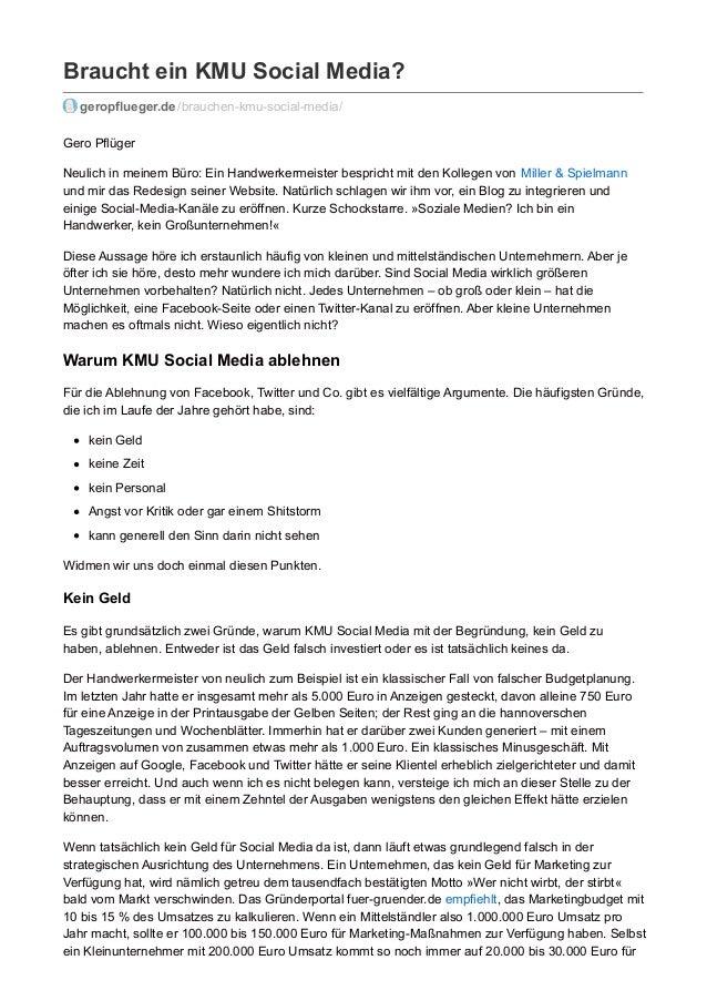 Braucht ein KMU Social Media? geropflueger.de /brauchen-kmu-social-media/ Gero Pflüger Neulich in meinem Büro: Ein Handwer...