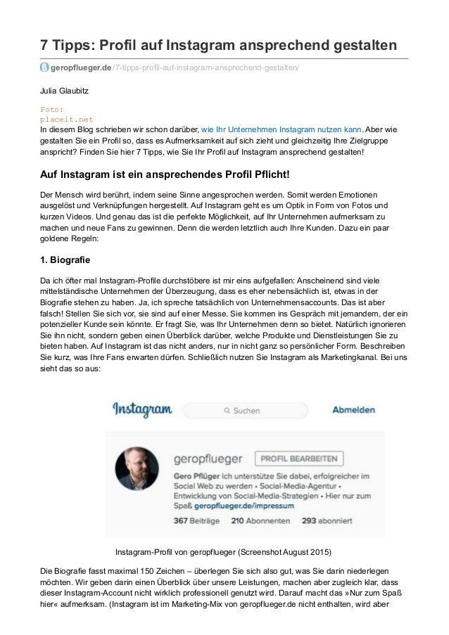 7 Tipps: Profil auf Instagram ansprechend gestalten geropflueger.de /7-tipps-profil-auf-instagram-ansprechend-gestalten/ J...
