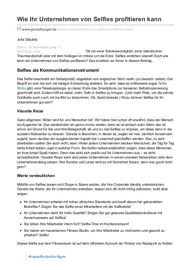 Wie Ihr Unternehmen von Selfies profitieren kann www.geropflueger.de/wie-ihr-unternehmen-von-selfies-profitieren-kann/ Jul...
