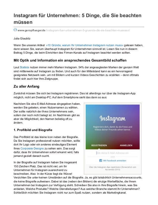 Über die Instagram-App registrieren (Screenshot vom November 2015) Instagram für Unternehmen: 5 Dinge, die Sie beachten mü...
