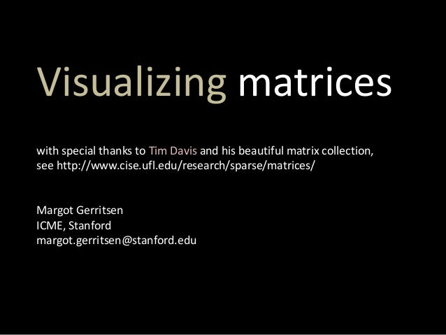 Visualizing matrices with special thanks to Tim Davis and his beautiful matrix collection, see http://www.cise.ufl.edu/res...