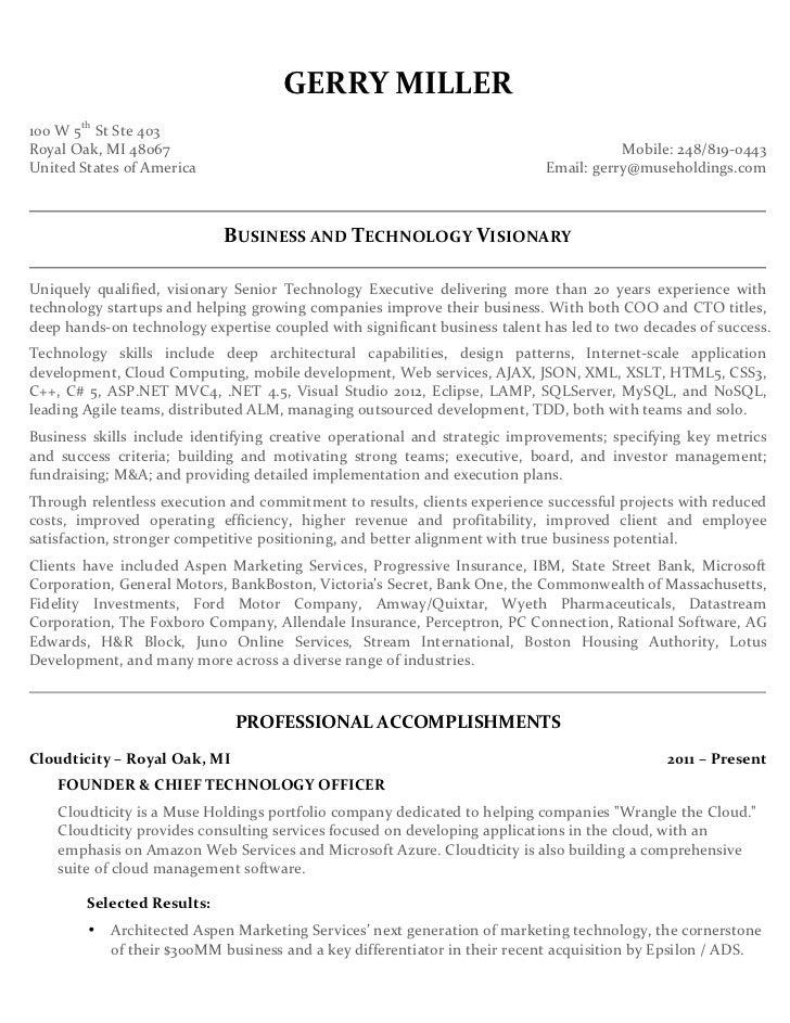 gerry miller executive resume