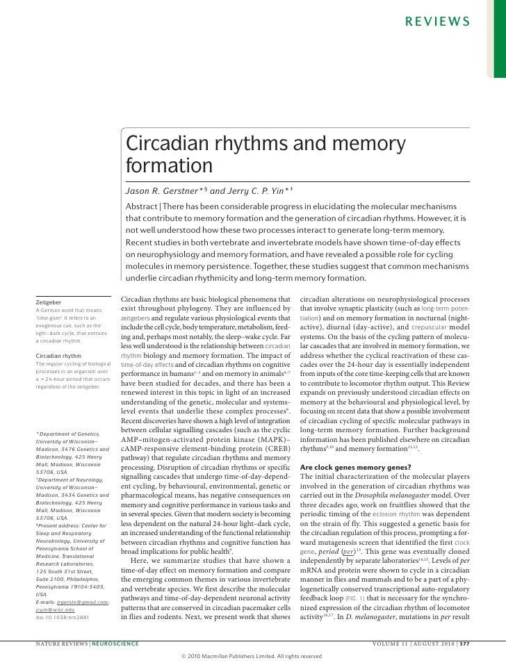 REVIEWS                                     Circadian rhythms and memory                                     formation    ...