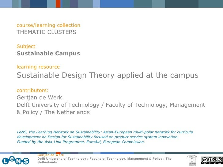 course/learning collection THEMATIC CLUSTERS Subject Sustainable Campus learning resource Sustainable Design Theory applie...