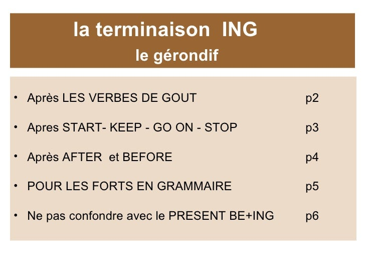 Grammaire Anglaise Le Gerondif