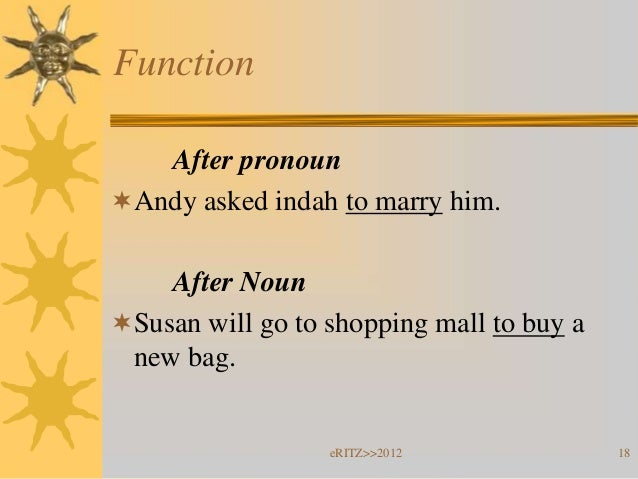 Function   After pronounAndy asked indah to marry him.    After NounSusan will go to shopping mall to buy a new bag.    ...