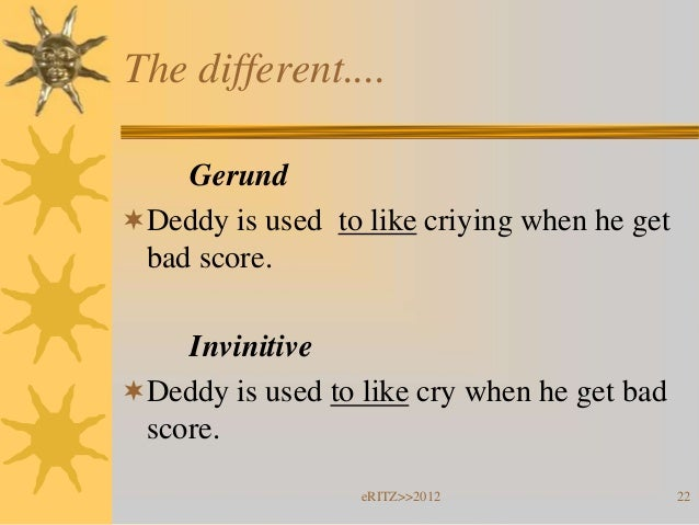 The different....    GerundDeddy is used to like criying when he get bad score.    InvinitiveDeddy is used to like cry w...