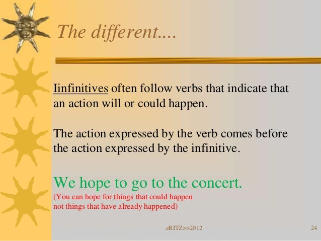 The different....Iinfinitives often follow verbs that indicate thatan action will or could happen.The action expressed by ...