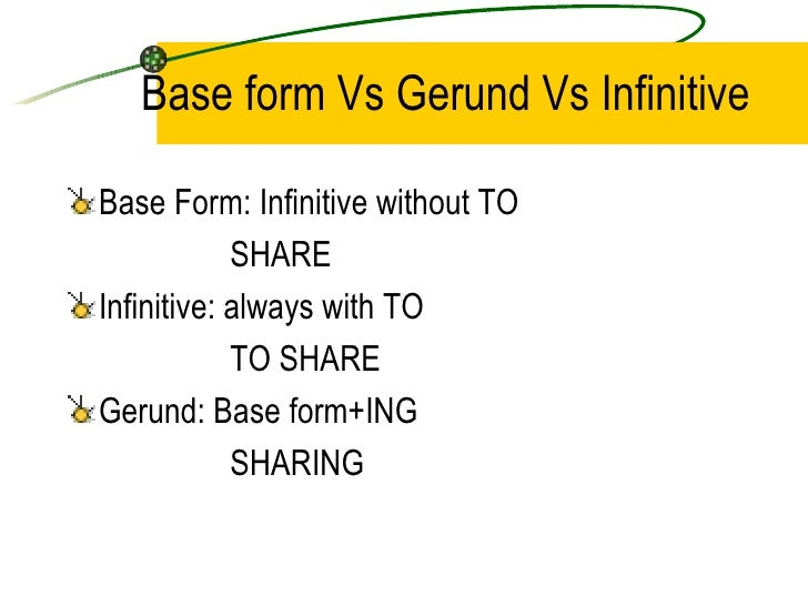 Gerunds And Infinitives Slide 2