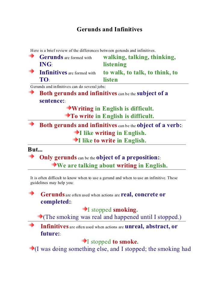 Gerunds and Infinitives Here is a brief review of the differences between gerunds and infinitives.      Gerunds are formed...