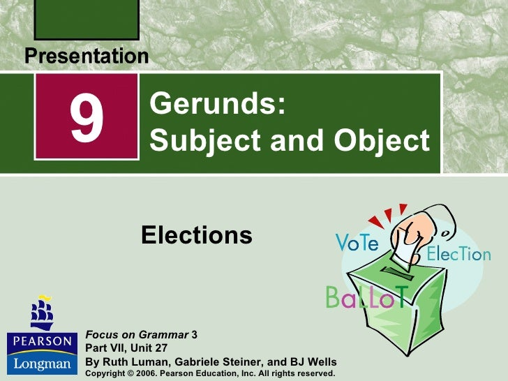 Gerunds subject and object – Gerunds and Gerund Phrases Worksheet