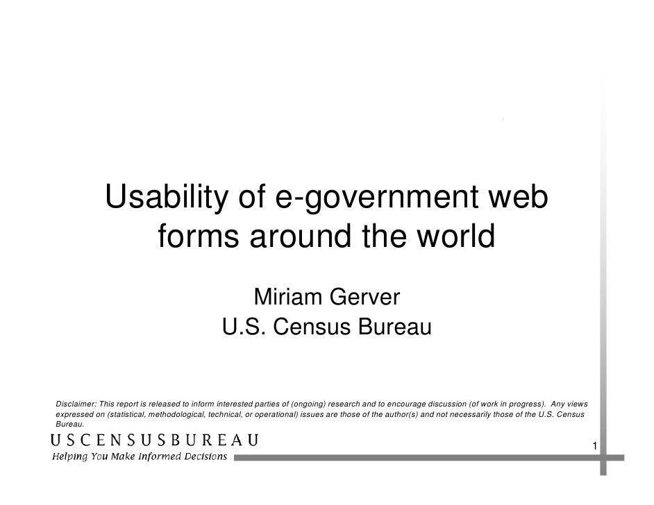 Usability of e-government web                 forms around the world                                                  Miri...