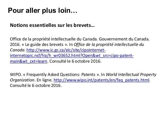 Ts cours ges840 atelier de recherche de brevets - Office de la propriete intellectuelle ...