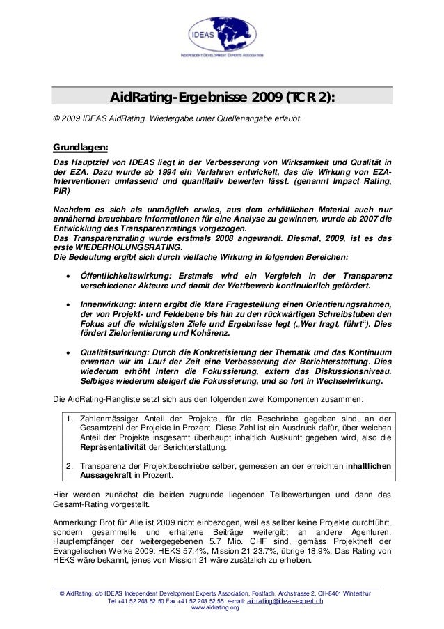 AidRating-Ergebnisse 2009 (TCR 2): © 2009 IDEAS AidRating. Wiedergabe unter Quellenangabe erlaubt. Grundlagen: Das Hauptzi...