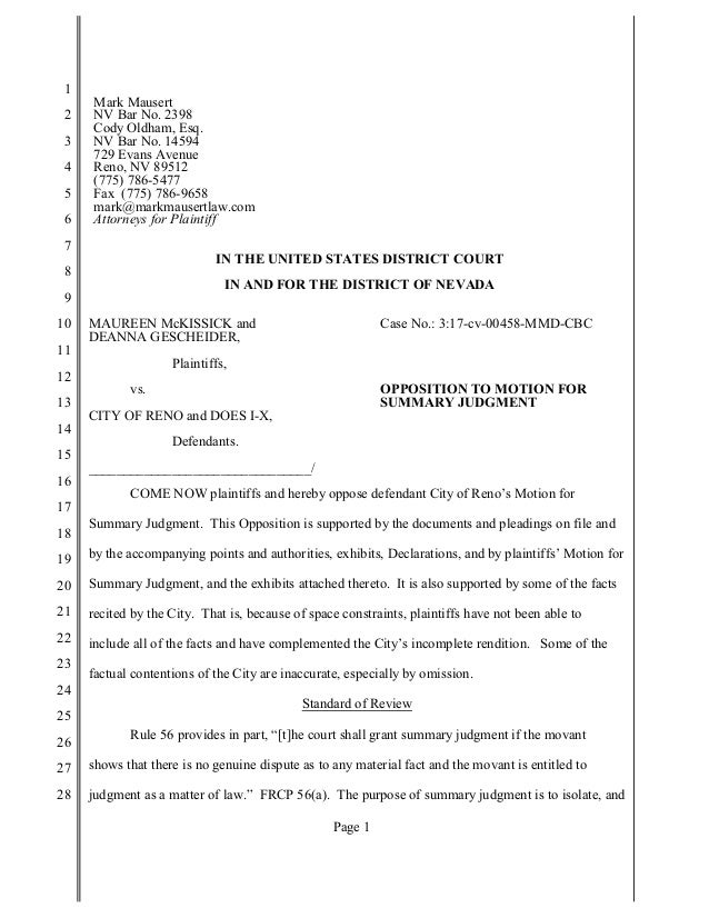 3af8b75b065e Response to City of Reno s Motion to Dismiss Harassment