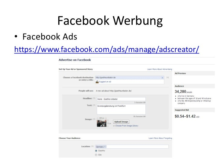 Facebook Werbung• Facebook Adshttps://www.facebook.com/ads/manage/adscreator/
