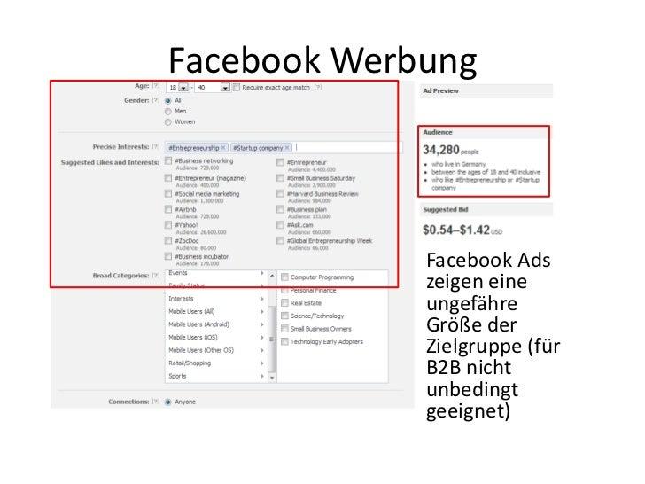 Facebook Werbung             Facebook Ads             zeigen eine             ungefähre             Größe der             ...