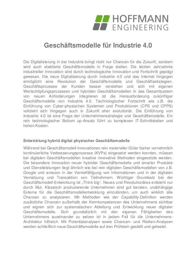 Geschäftsmodelle für Industrie 4.0 Die Digitalisierung in der Industrie bringt nicht nur Chancen für die Zukunft, sondern ...