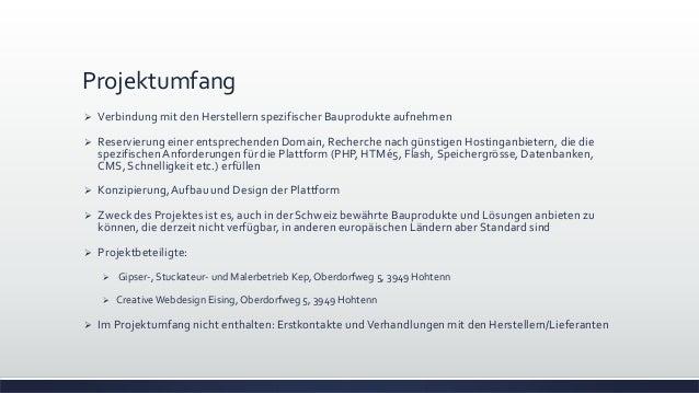 Geschaeftsprojektplan schweizerisches Online Baukontor Slide 3