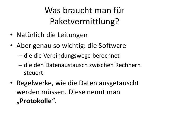 Was braucht man für Paketvermittlung? • Natürlich die Leitungen • Aber genau so wichtig: die Software – die die Verbindung...