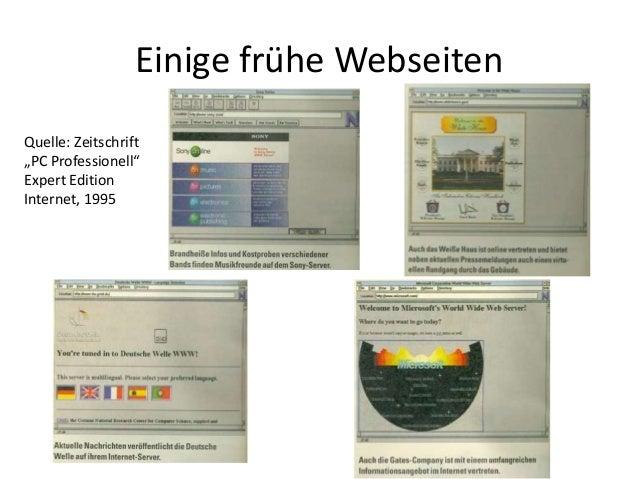 """Einige frühe Webseiten Quelle: Zeitschrift """"PC Professionell"""" Expert Edition Internet, 1995"""