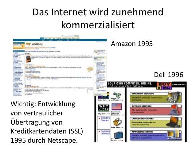 Das Internet wird zunehmend kommerzialisiert Amazon 1995 Dell 1996 Wichtig: Entwicklung von vertraulicher Übertragung von ...