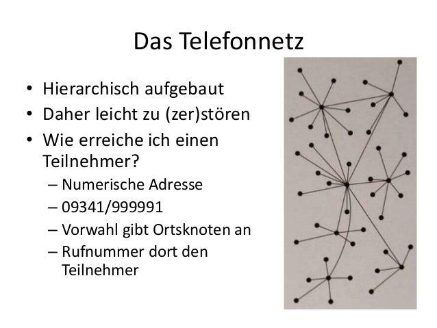 Das Telefonnetz • Hierarchisch aufgebaut • Daher leicht zu (zer)stören • Wie erreiche ich einen Teilnehmer? – Numerische A...