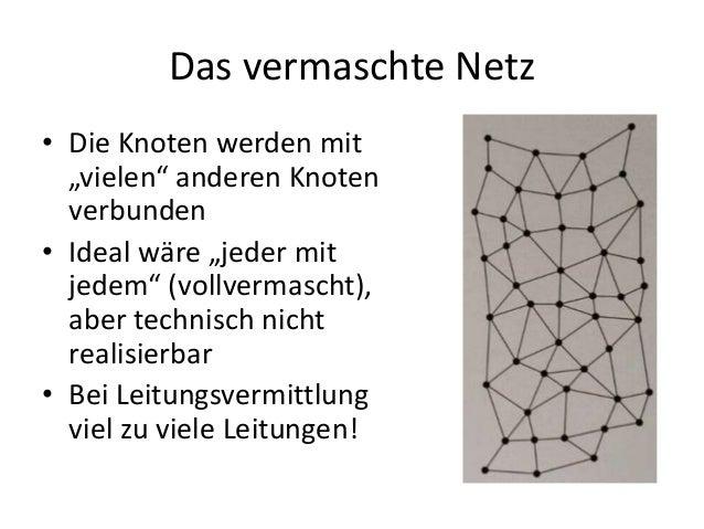 """Das vermaschte Netz • Die Knoten werden mit """"vielen"""" anderen Knoten verbunden • Ideal wäre """"jeder mit jedem"""" (vollvermasch..."""