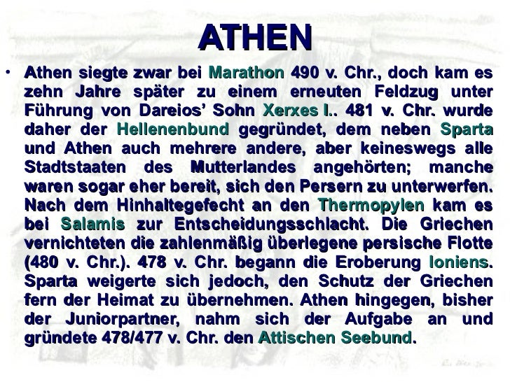 ΑΤΗΕΝ <ul><li>Athen siegte zwar bei  Marathon  490 v. Chr., doch kam es zehn Jahre später zu einem erneuten Feldzug unter ...