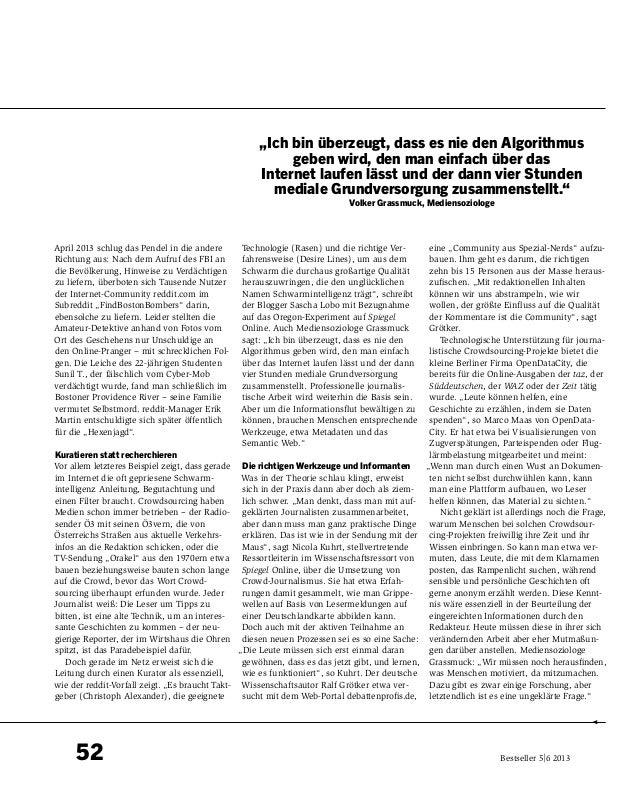 52 Bestseller 5 6 2013 April 2013 schlug das Pendel in die andere Richtung aus: Nach dem Aufruf des FBI an die Bevölkerun...
