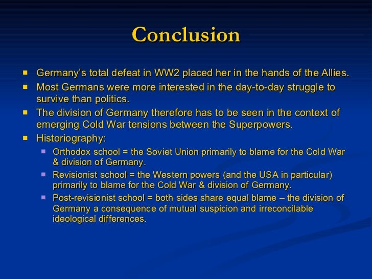 the involvement of germans in the cold war American intervention in the german labor  german society at war's end was  to be overcome, and if the political future of german society.