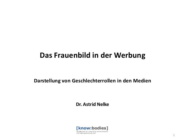 Das Frauenbild in der Werbung Darstellung von Geschlechterrollen in den Medien  Dr. Astrid Nelke  1