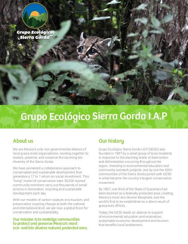 Grupo Ecológico Sierra Gorda I.A.P Grupo Ecológico Sierra Gorda I.A.P (GESG) was founded in 1987 by a small group of local...