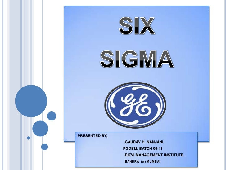 Six sigma at general electric essay