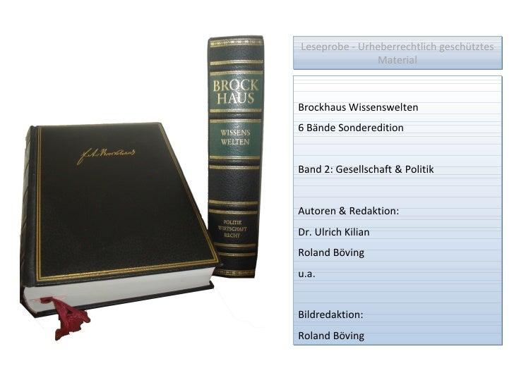 Leseprobe - Urheberrechtlich geschütztes Material Brockhaus Wissenswelten 6 Bände Sonderedition Band 2: Gesellschaft & Pol...