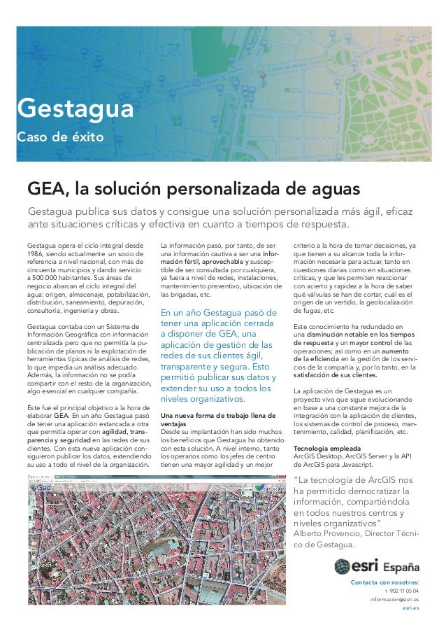 GEA, la solución personalizada de aguas Gestagua publica sus datos y consigue una solución personalizada más ágil, eficaz ...