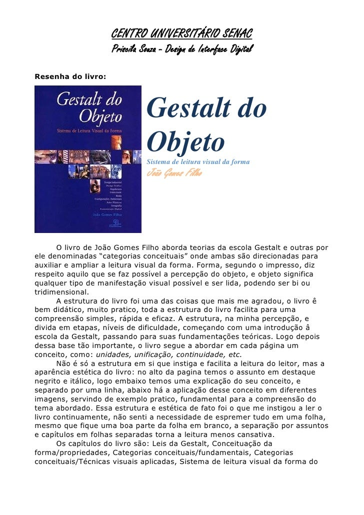CENTRO UNIVERSITÁRIO SENAC                     Priscila Souza - Design de Interface DigitalResenha do livro:              ...