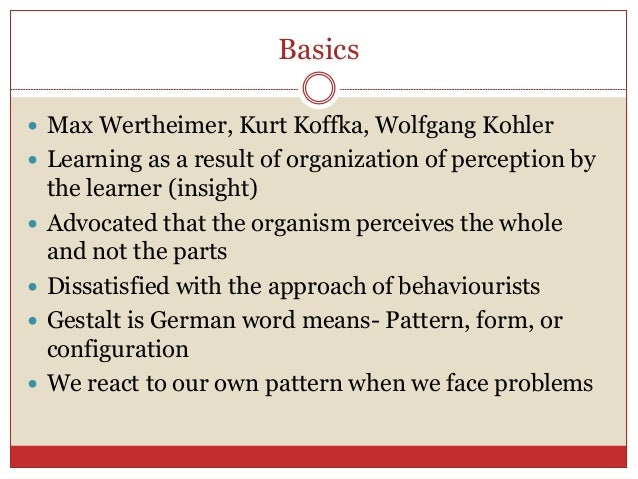 the gestalt theory and insight Insight theory of learning:  gestalt theory of learning this theory is known as gestalt theory of learning gestalt is a german word which means 'configration .
